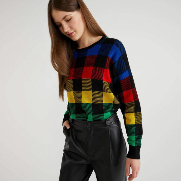 Multi-colour Check Sweater