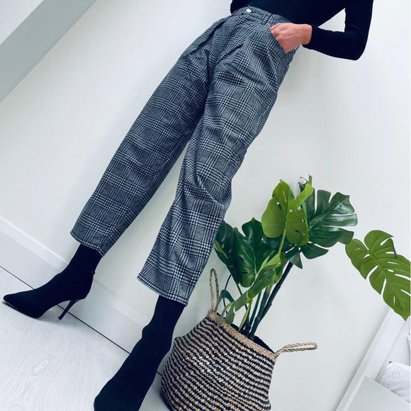 Grey High-waisted Check Trousers