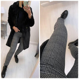 Dark Grey Straight Check Trousers