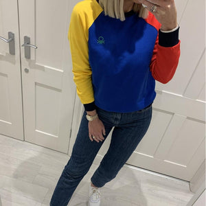 Colour Block Crew Neck Sweatshirt with Logo