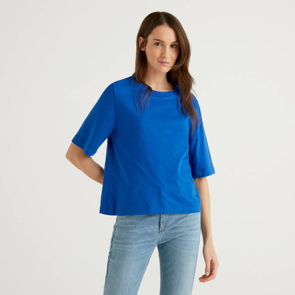 Bright Blue Benetton Crew Neck Boxy T-shirt