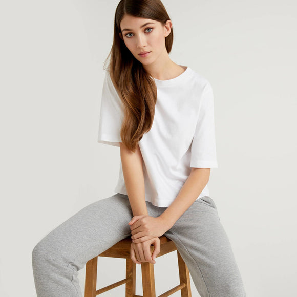 White Boxy Fit Crew Neck T-shirt