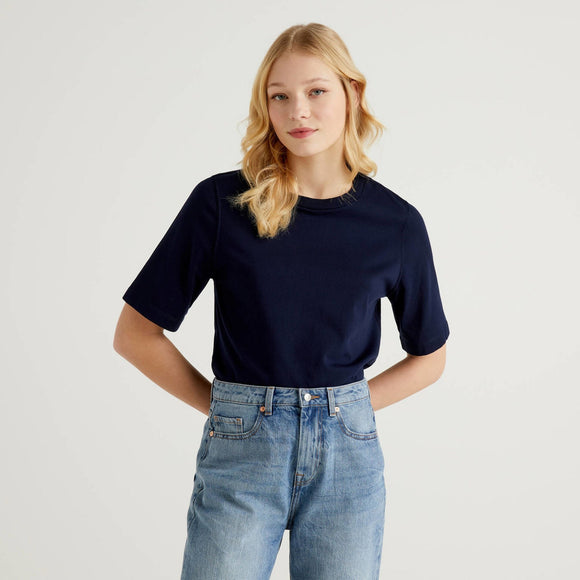 Navy Benetton Boxy T-shirt