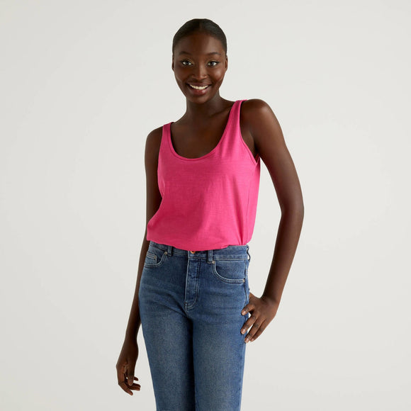 Fuchsia 100% Cotton Tank Top