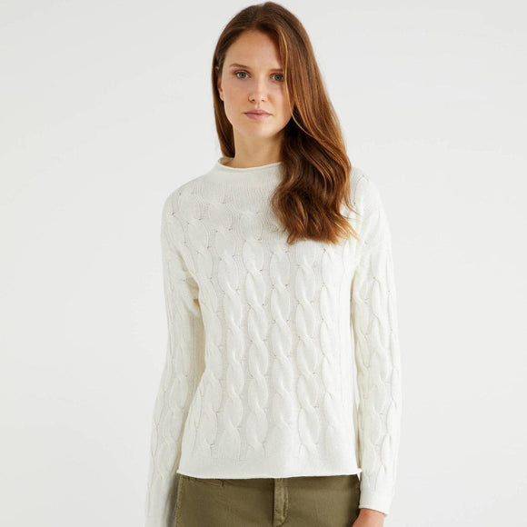 Creamy White Cable Knit Cashmere Mix Crew Neck Sweater