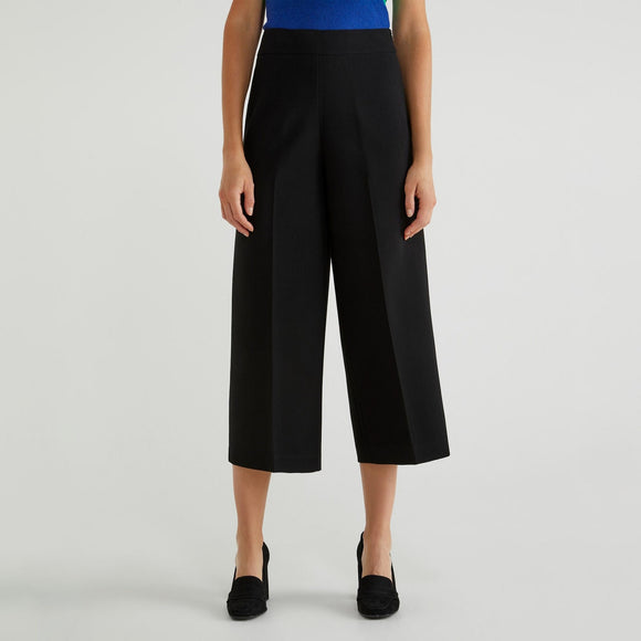 Black Cropped Trousers Benetton Ladies Fashion