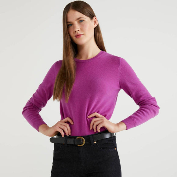 Cyclamen 100% Virgin Wool Crew Neck Sweater