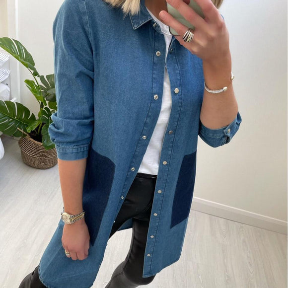 Denim Shirt Dress with Buttons