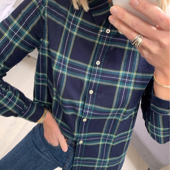 Navy Check Flannel Shirt