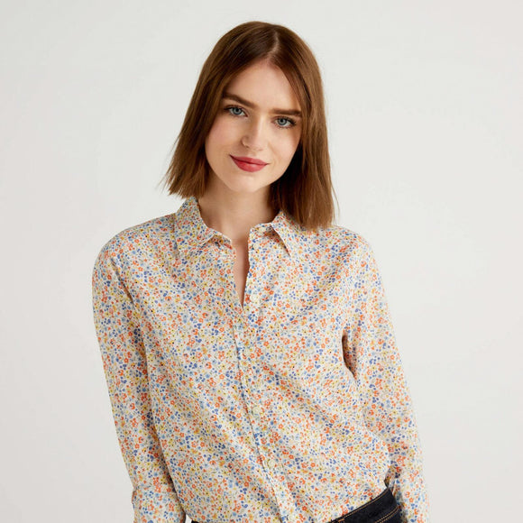 White Printed Shirt with Pale Orange & Blue Flowers