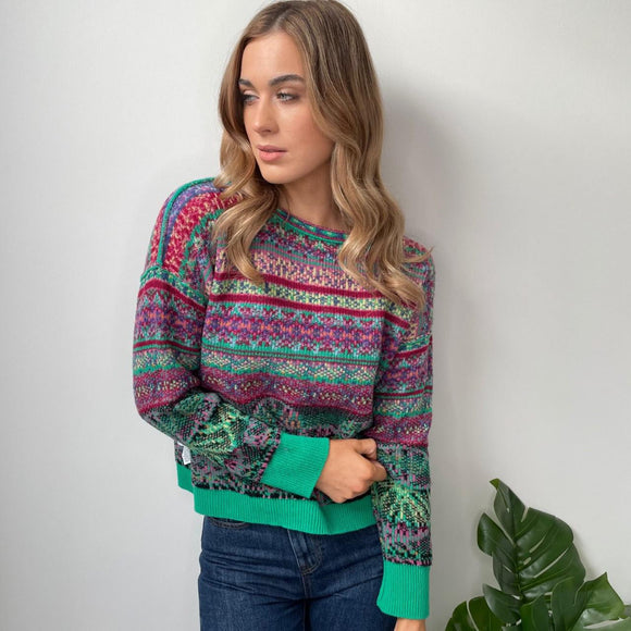 Reversible Green Jacquard Sweater