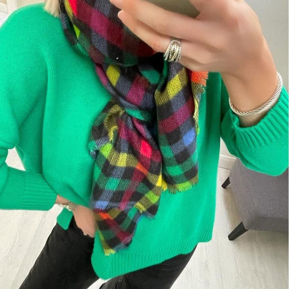 Green Loose Sweater with Slits