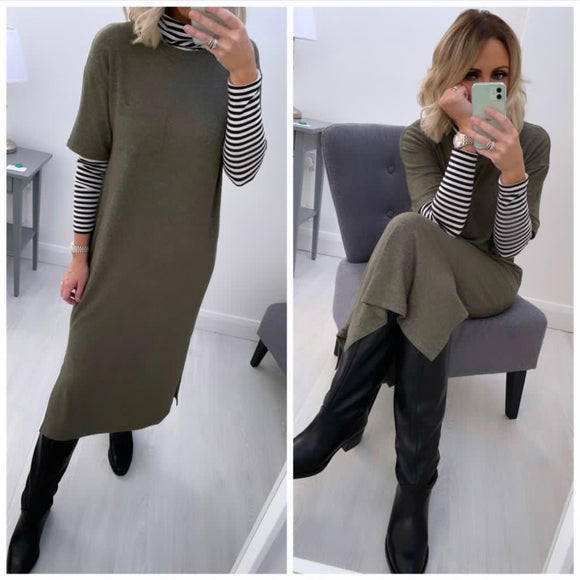 Khaki Oversized Long Dress