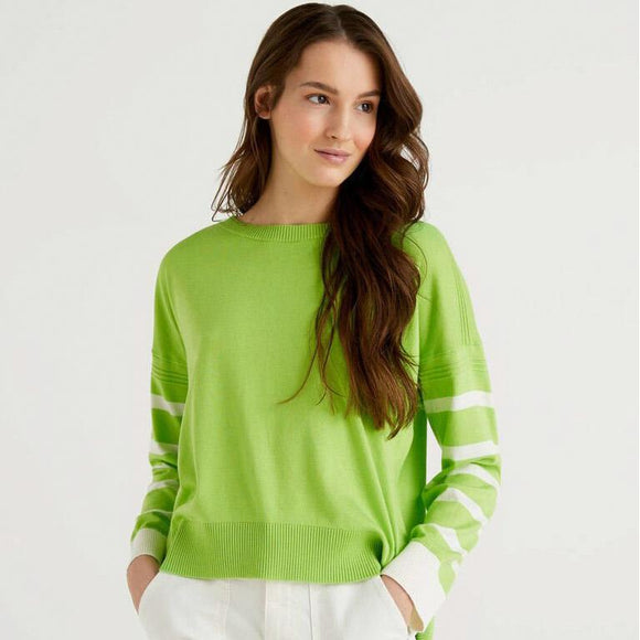 Green Sweater with Slit at Back