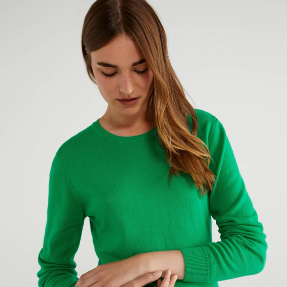 Green 100% Virgin Wool Crew Neck Sweater