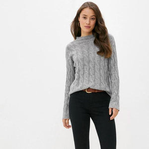 Grey Cable Knit Cashmere Mix Crew Neck Sweater