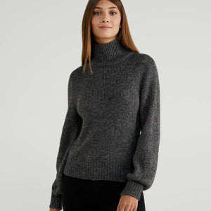 Grey Turtleneck with Puff Sleeves