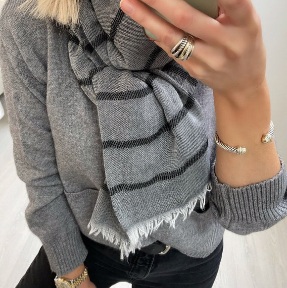Grey Scarf with Black Stripes