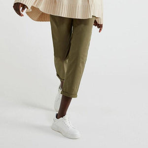 Khaki Stretch Cotton Trousers
