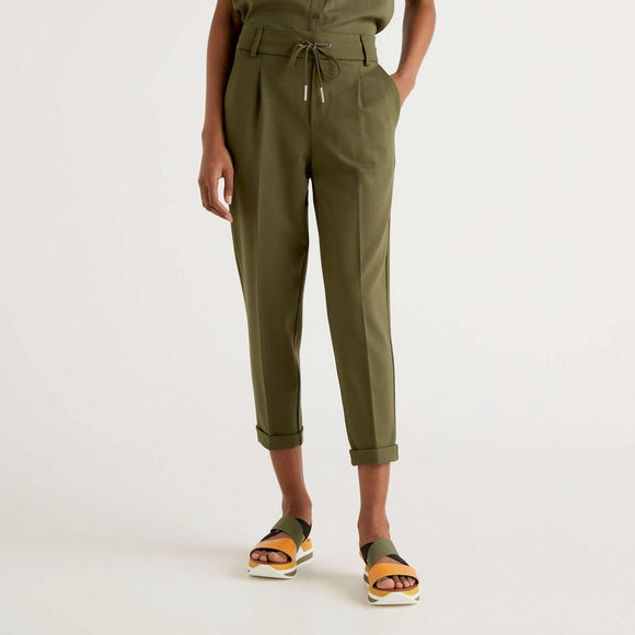 Khaki Benetton Trousers with Cuff