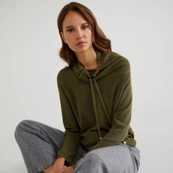 Khaki High Neck Sweater with Drawstring