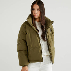 Khaki Puffer Jacket with High Neck
