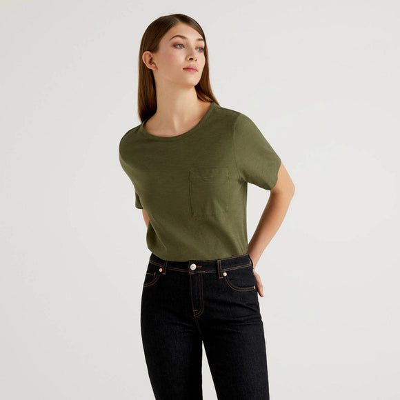 Khaki Slub Cotton T-shirt