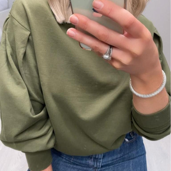 Khaki Puff Sleeve Sweater