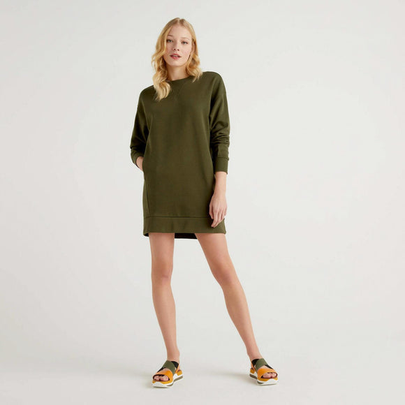 Khaki Sweatshirt Dress in Cotton