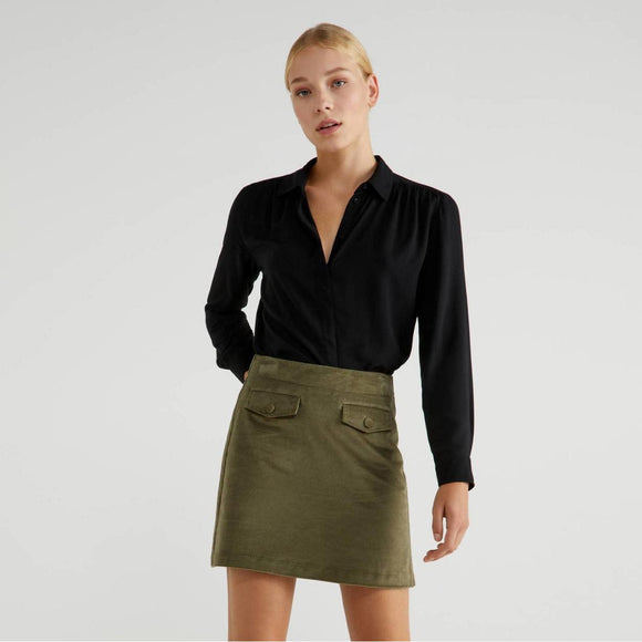 Khaki Velvet Mini Skirt