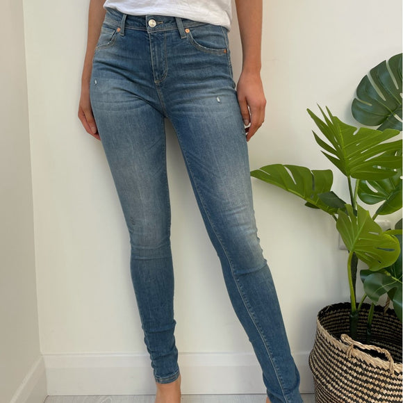 Blue Skinny Fit Push Up Jeans with Faded Detail