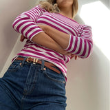 Pink Striped 3/4 Sleeve Top