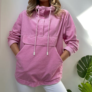 Pink Corduroy Hooded Jacket with Pocket