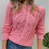 Pink Textured Cotton Sweater