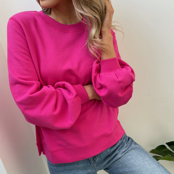 Fuchsia Cotton Puff Sleeve Benetton Sweater