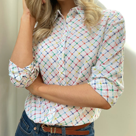 White Printed Shirt with Multi-colour Floral Pattern