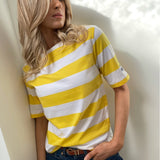 Yellow & White Striped Top with Boat Neck