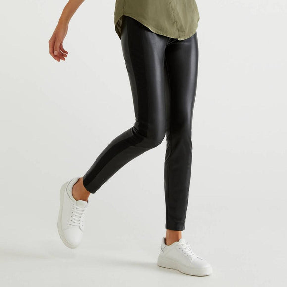 Black Leather Look Skinny Trousers