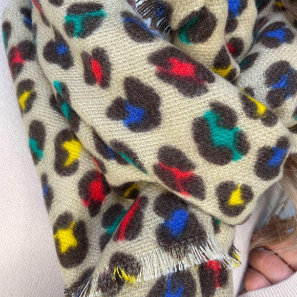 Multi-colour Leopard Print Scarf