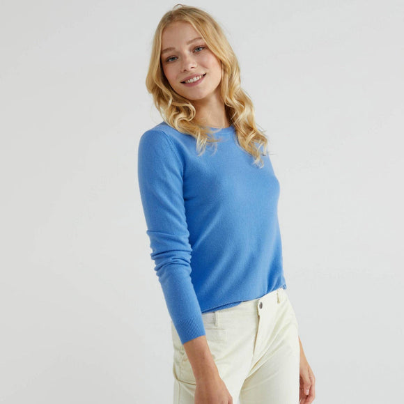 Light Blue 100% Virgin Wool Crew Neck Sweater