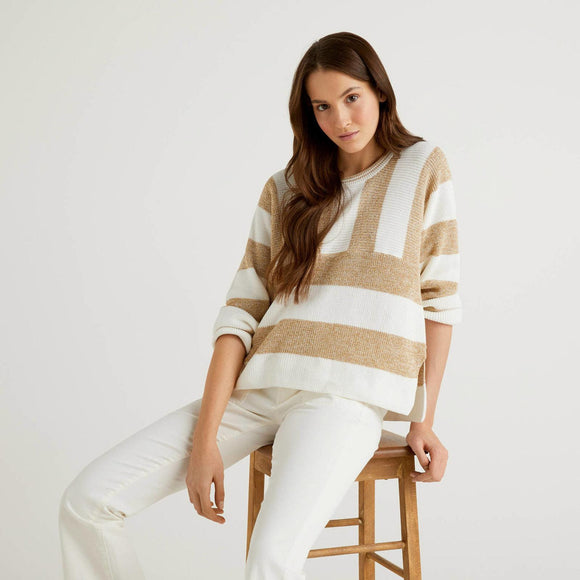 White & Camel Lurex Benetton Sweater