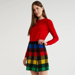 Multi-colour Check Knit Skirt