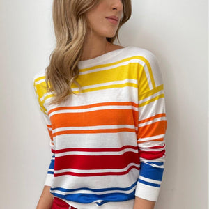 White Sweater with Multi-colour Stripes