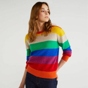 Multi-colour Stripe Sweater in Shetland Wool
