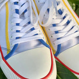 White Lace up Sneaker with Multi-colour Details