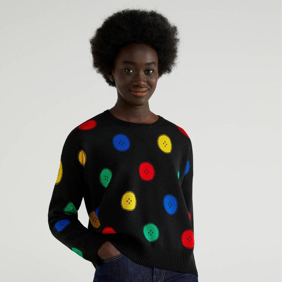 Black Sweater with Multi-colour Button Motif