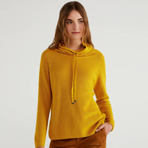 Mustard High Neck Sweater with Drawstring