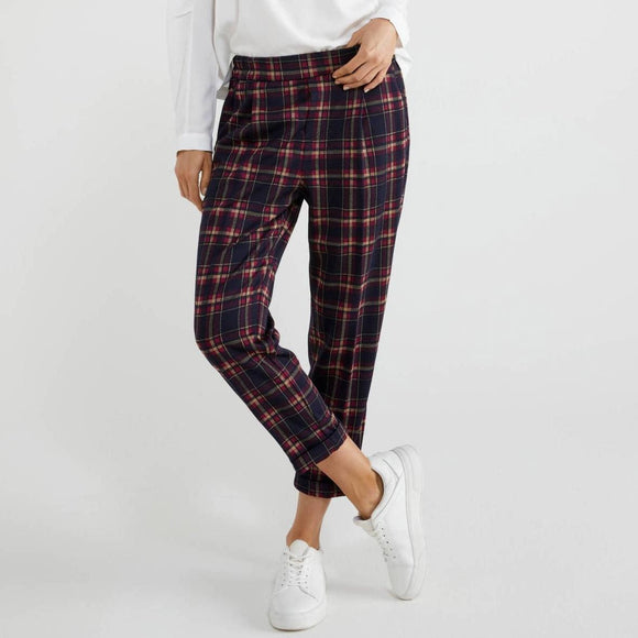 Navy Check Stretch Trousers with Cuffs