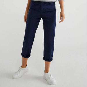 Navy Stretch Cotton Trousers