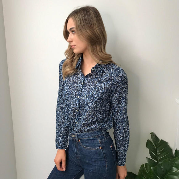 Navy Printed Shirt with Blue Flowers